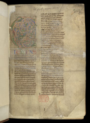 Historiated Initial With Clement(?) And An Ownership Inscription, In 'The Collection Of Lanfranc'